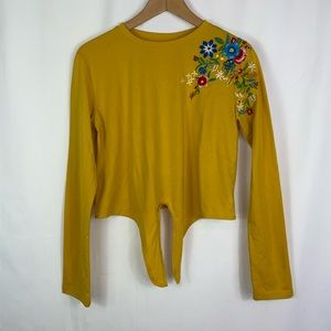 Yellow Embroidered Long Sleeve